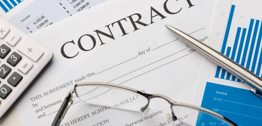contract document on table