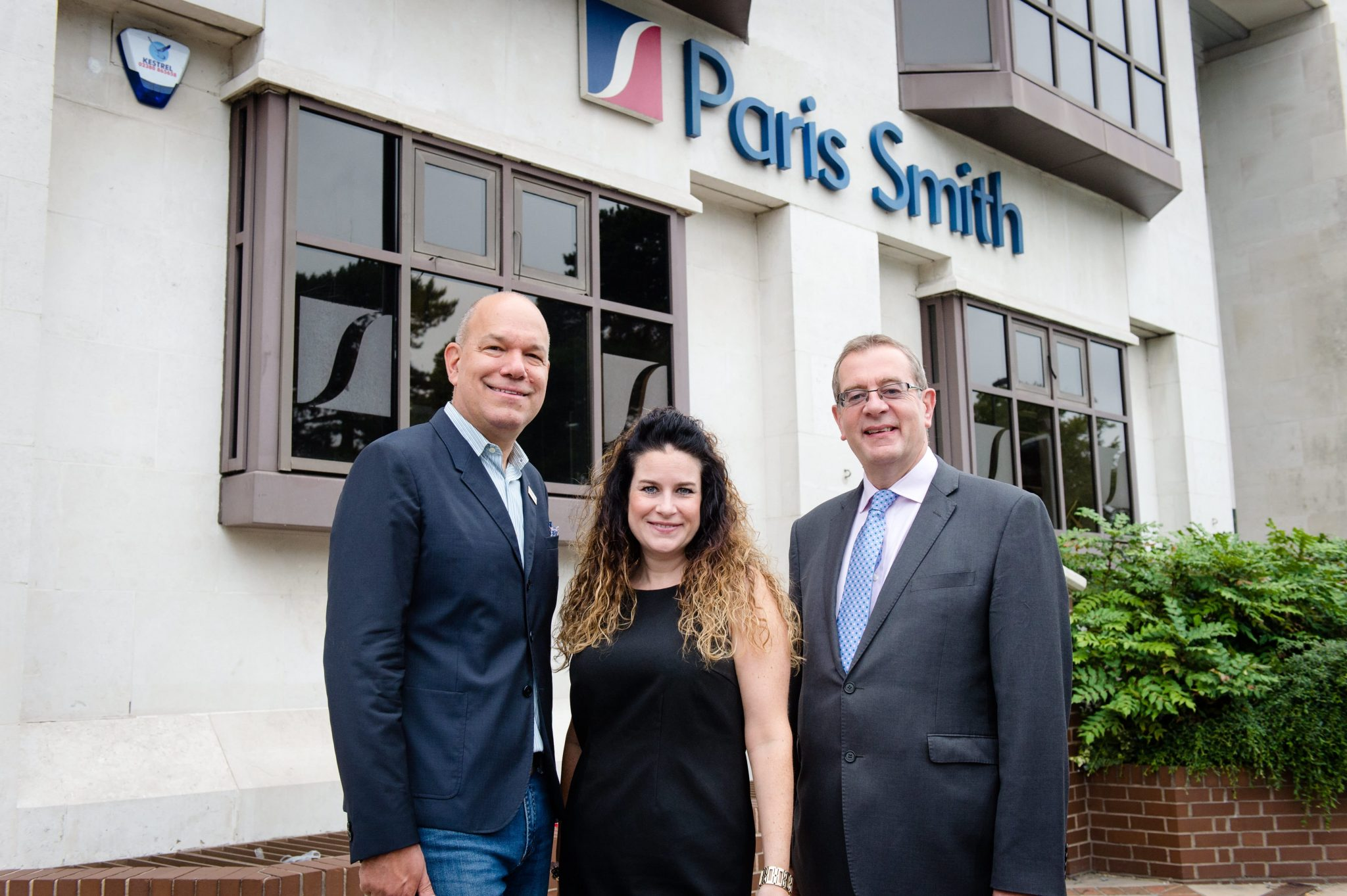 Photo of Jim Zalles, Helen Freeston, Nick Vaughan outside Paris Smith LLP offices