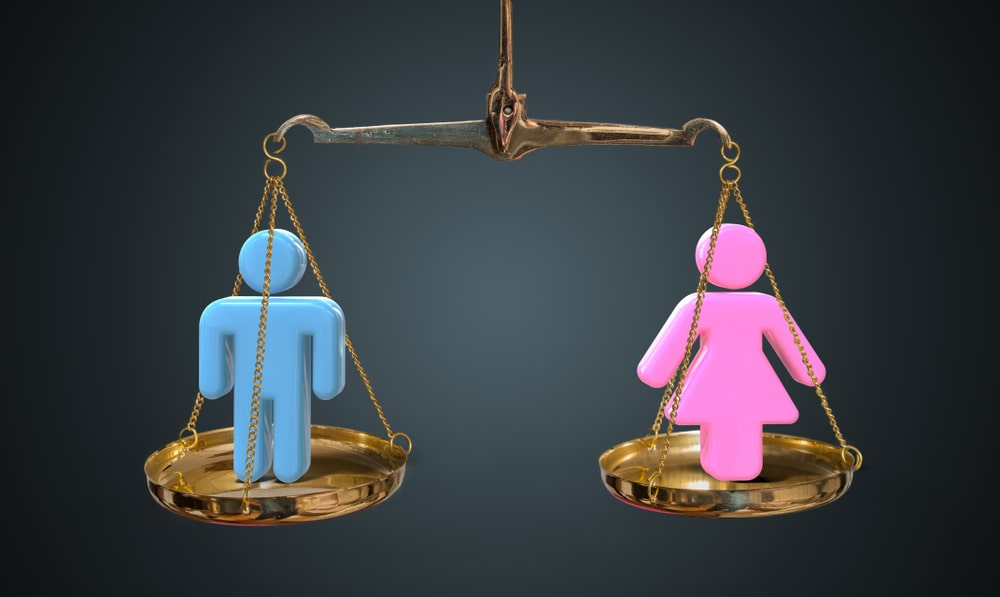 man and woman on scales image