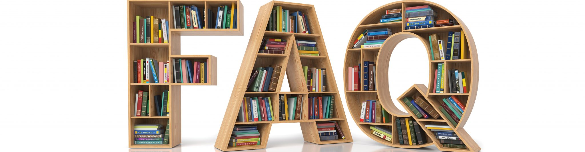 books on a faq book shelf